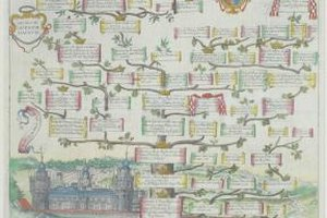 Medieval family trees included bright colors and heraldic art.