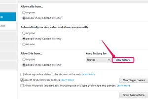 Deleting your Skype history clears all messages, including calls and video chats.