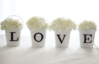 [Article Image] - L-O-V-E Tin Pail Flower Arrangement