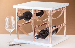 [Article Image] - DIY Copper Pipe and Leather Wine Rack