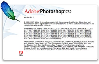 This is the Adobe Photoshop CS2 startup window.