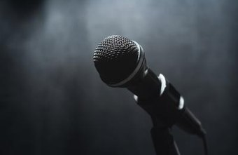 A microphone on a stage.
