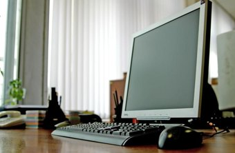 Close-up of a PC desktop computer in a modern office