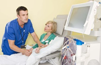 Dialysis nurses care for patients during the dialysis procedure.