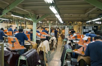 Factory overhead costs are spread over the production line output.