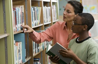 Librarians' duties include helping patrons find materials and information.