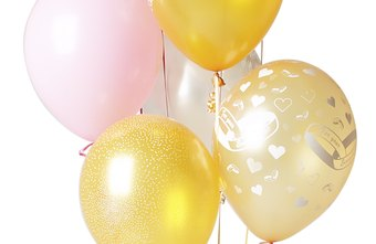 Balloons in corporate colors decorate a party.