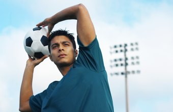 Soccer throw-ins require strong shoulder and arm muscles.