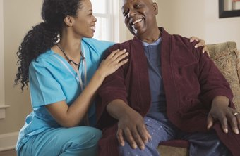 A nurse may help a patient relax before a procedure.