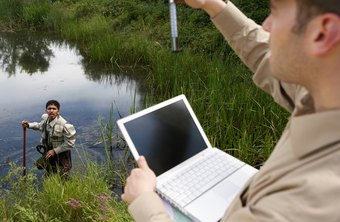 Environmental scientists analyze samples in wetlands, among other tasks..