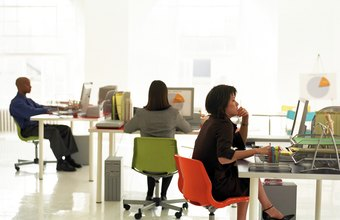 Employees typically have their own work spaces.