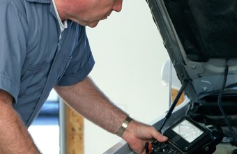 Car mechanics use sophisticated diagnostic equipment to determine electronic problems.