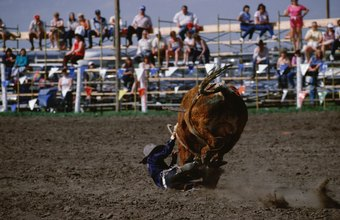 Thrown riders are protected by the rodeo clown.