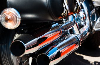Chrome exhaust pipes add pizzazz to a motorcycle.