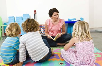 Childcare workers use storytelling to teach children.
