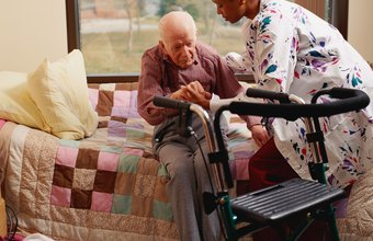 Nursing assistants may help infirm patients to get around.