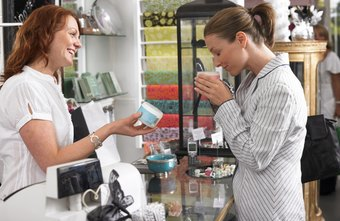 Cosmetics sales workers often demonstrate their merchandise.