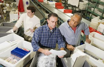 A warehouse worker has many duties, including filing inventory records and inspecting packages.