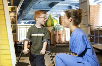 Physical therapists help children with disabilities improve their ability to function independently.