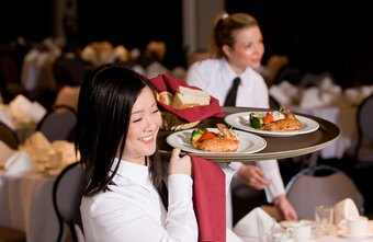 Banquet waitresses primarily serve the meals and clear the dishes.