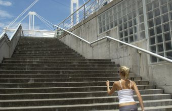 Walking up stairs offers an efficient core and lower-body workout.