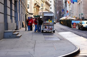 Food carts can occupy a variety of possible locations.