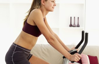 Pedaling a stationary bike provides an up-tempo aerobic workout.