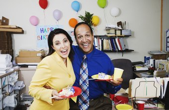 Celebrating birthdays with a monthly party is one way to help improve workplace morale.