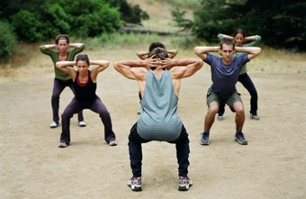 Squats build muscles in boot camp.
