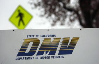 Close-up of DMV sign.