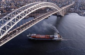 Large cargo ship under bridge.