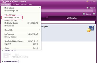 You can update your Yahoo Messenger contact details without leaving the app.