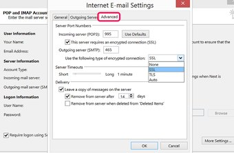 Outlook configuration varies slightly for POP and IMAP accounts.