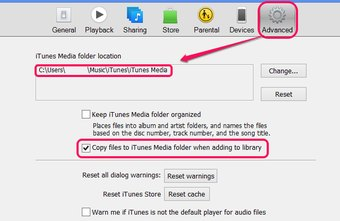 The iTunes Media folder also includes podcasts and movies.