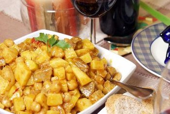 Curried kala chana is a popular chickpea dish in India.