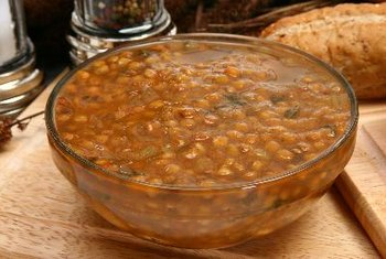 Lentil soup is a good source of iron, fiber and folate.