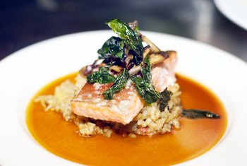 Brown rice and salmon form a classic, nutritious dish.