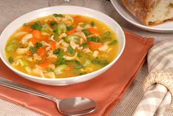 Fresh veggies add flavor and vitamins and minerals to chicken noodle soup.