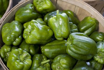 A 1-cup serving of green bell peppers contains 30 calories.
