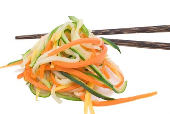 Julienned vegetables make a nutritious low-carb substitute for regular high-carb noodles.
