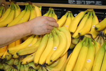Fruits, including bananas, make good snacks and are high in fiber.