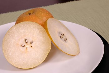 Apple pears provide dietary fiber, vitamins and minerals.