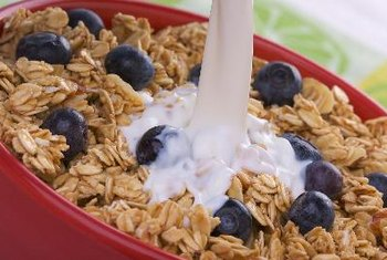 Milk and granola as part of a healthy diet.