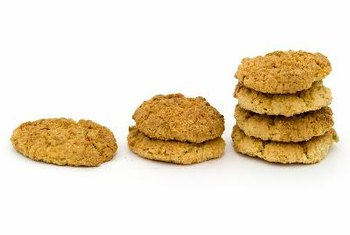 A 1-ounce oatmeal cookie contains about 130 calories.