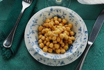 Sprouted chickpeas have light, creamy interiors.