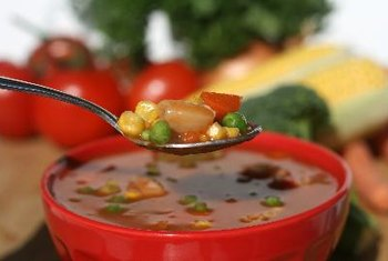 Add vegetables to your soup to make it more hearty and healthy.