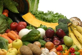 Fruits and vegetables contain fiber.