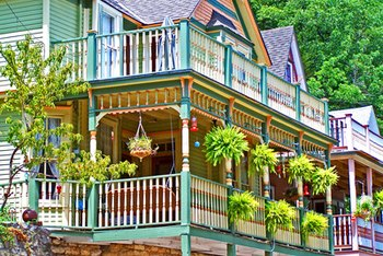 Victorian-style houses are popular for their multicolored exteriors.