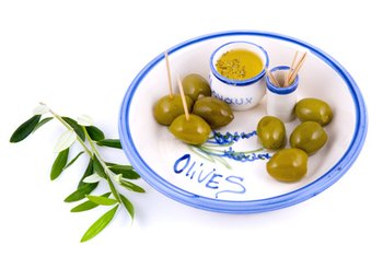 Olives stuffed with blue cheese are tasty sources of healthy fats.