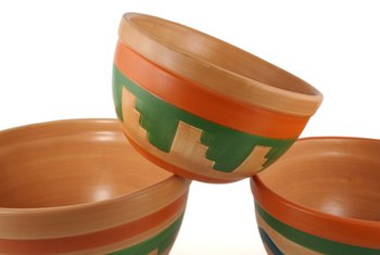 Mexican decor includes clay pots with traditional patterns.
